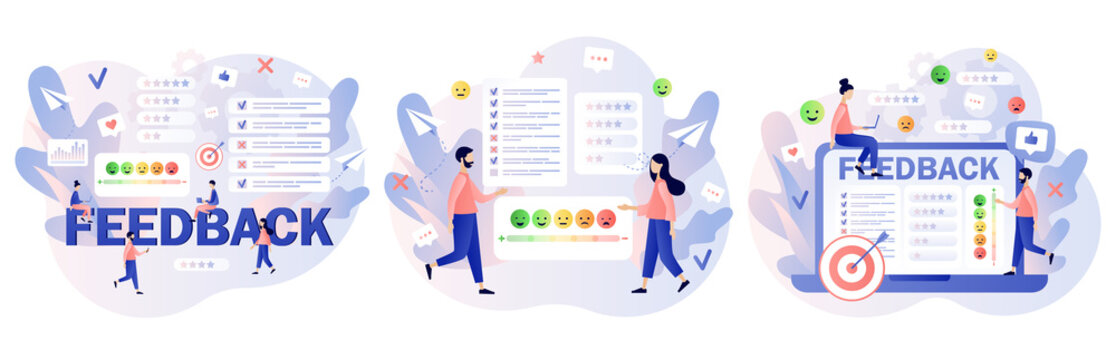 Feedback concept. Customer survey, review and opinion. Tiny people clients leave feedback in online service. Modern flat cartoon style. Vector illustration on white background