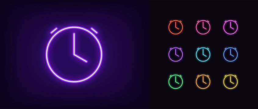 Neon time icon. Glowing neon clock sign, outline alarm silhouette