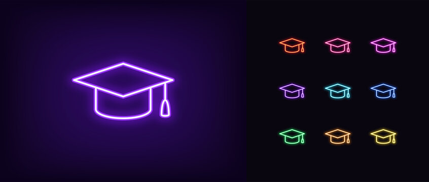 Neon academic hat icon. Glowing neon education sign, outline mortarboard pictogram