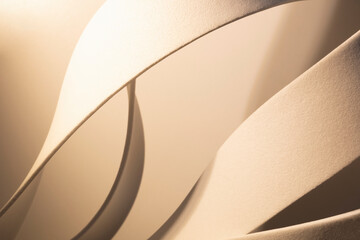 White curved elements with grainy background, abstract