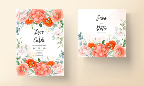 Beautiful orange flower wedding invitation card template