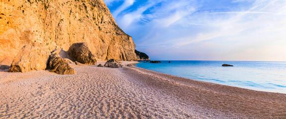 Tranquil sea scenery - sunset in Porto Katsiki beach. Lefkada Ionian island. Most beautiful beaches of Greece