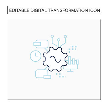 Software line icon. Agile software development. Creating special modern technologies. Digital transformation concept.Isolated vector illustration.Editable stroke