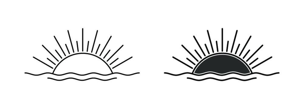 Sun Logo Design Template - Lines Retro Vintage Sunset Minimalist Style Vector Illustration