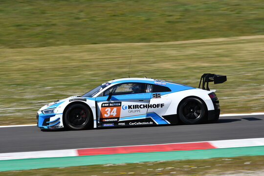 Scarperia, 25 March 2021: Audi R8 LMS GT3 of Car Collection Motorsport Team driven by Kirchhoff-Edelhoff-Grimm in action during 12h Hankook Race at Mugello Circuit in Italy.