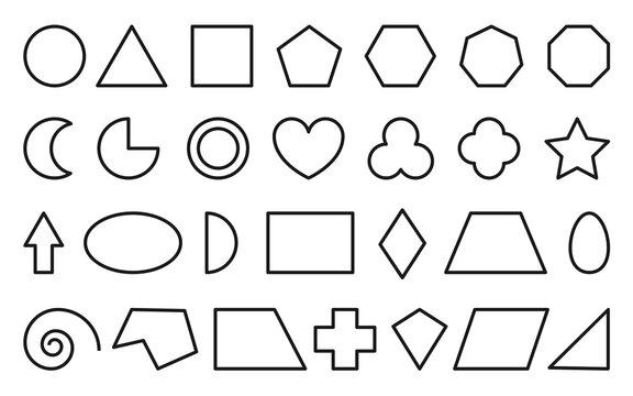 Basic educational line geometric shape icon set. Teaching math figures triangle, square, circle, hexagon, rectangle. Kid school learning geometry cartoon study element isolated on white background