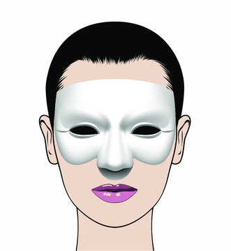 Portrait of a beautiful girl in a mask. Vector illustration