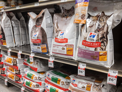Kirkland, WA USA - circa April 2021: Angled view of shelves stocked with Science Diet cat food inside a Petco pet supply store.