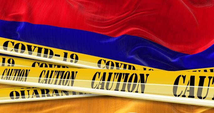 flag of Armenia and Covid-19 quarantine yellow tape. Coronavirus or 2019-nCov virus. Country isolation concept. 3d illustration