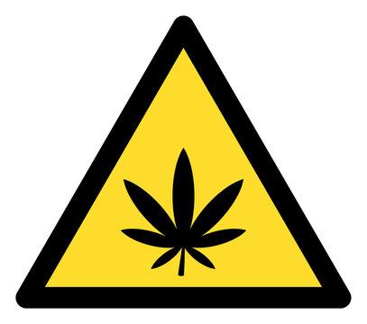 Marijuana warning icon with flat style. Isolated raster marijuana warning icon image on a white background.