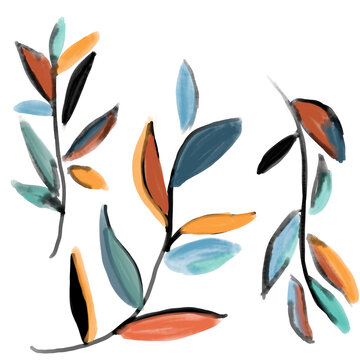 set of hand painting digital foliage leaves in waterclor bold artsy style