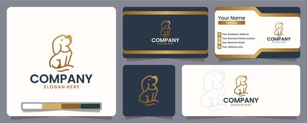 Fototapeta dog , puppy , line art ,logo design and business card