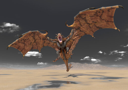 dragon is attacking on desert after rain