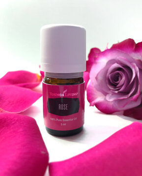 bottle of rose essential oil, firm young living