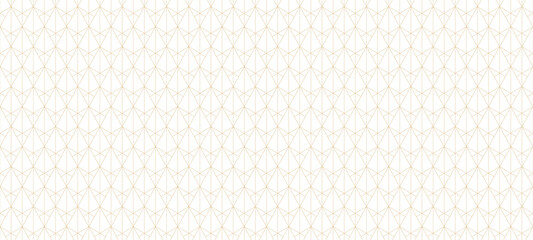 Fototapeta Golden lines pattern. Vector geometric seamless texture with subtle grid, thin lines, triangles, diamonds, rhombuses. Abstract luxury white and gold background. Art deco ornament. Modern repeat design obraz