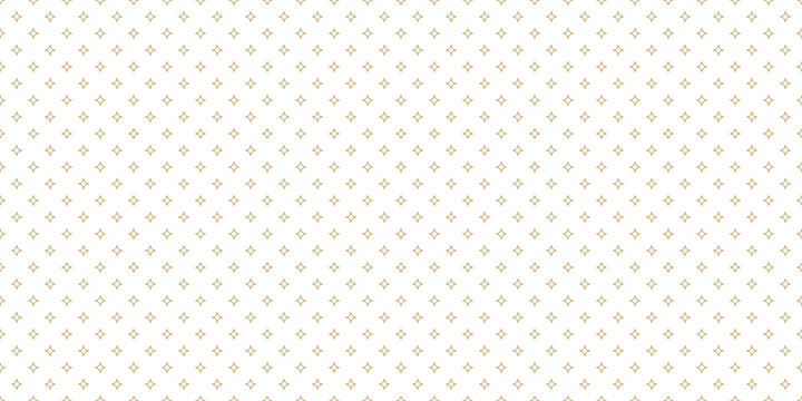 Golden vector seamless pattern with small diamonds, star shapes, tiny rhombuses. Abstract gold and white geometric texture. Simple minimal wide repeat background. Luxury design for print, wallpapers