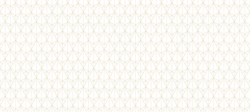 Golden lines pattern. Vector geometric seamless texture with subtle grid, thin lines, triangles, diamonds, rhombuses. Abstract luxury white and gold background. Art deco ornament. Modern repeat design