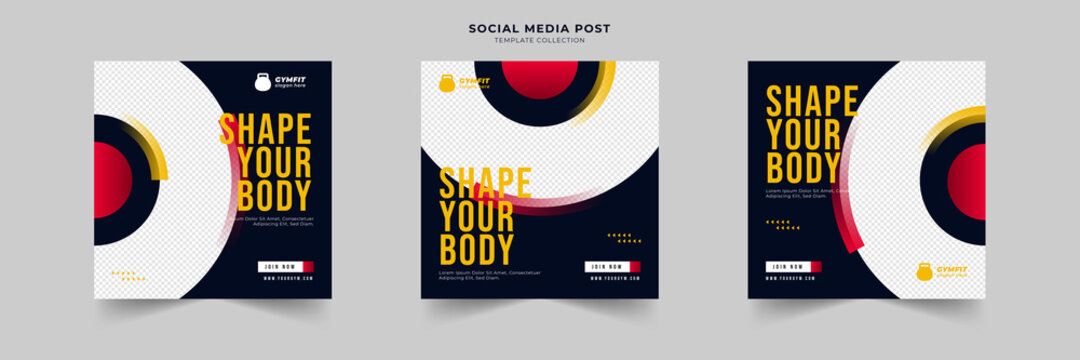 fitness and gym social media post template collection