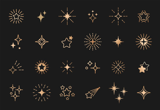 Stars line art icon. Gold vector star for logo, social media stories