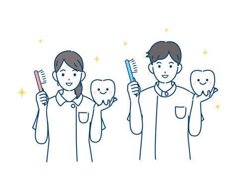 歯医者 歯科衛生士 歯磨きの説明 白衣を着た男女 イラスト素材
