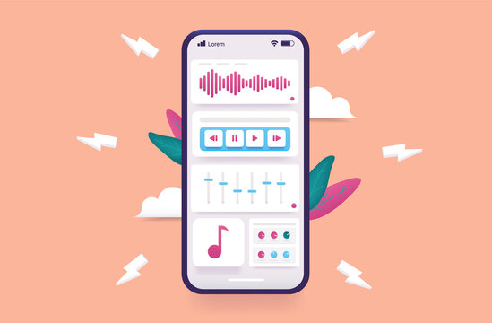 Music creation app on smartphone - Vector illustration of mobile phone with audio application to create beats and samples. Technology and creativity concept.