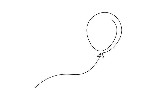 Single continuous line art balloon. Holiday festive present gift concept. Birthday party decoration helium balloon silhouette design. One sketch outline drawing vector illustration