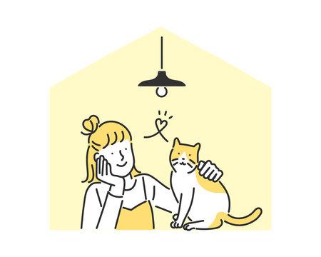 猫と一緒に暮らしている女性のイメージイラスト素材