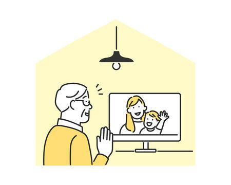 遠方に住んでいる家族とビデオ通話をしている高齢者男性のイメージ