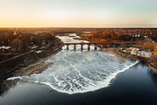 Aerial view of the Venta Rapid waterfall, the widest waterfall in Europe, Kuldiga, Latvia