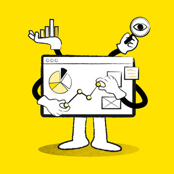 E-commerce business analytics board doodle yellow illustration