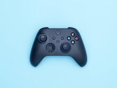 Ukraine, Cherkassy, April 2, 2021: Xbox series x, s black controller