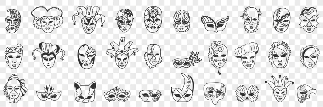 Carnival masks assortment doodle set. Collection of hand drawn various styles of decorative face masks as festival carnival costumes isolated on transparent background vector illustration