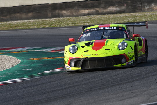 Scarperia, 25 March 2021: Porsche 911 GT3 R of Haegeli by T2 Racing Team driven by Decurtins-Lauck-Basseng-Dreisow in action during 12h Hankook Race at Mugello Circuit in Italy.