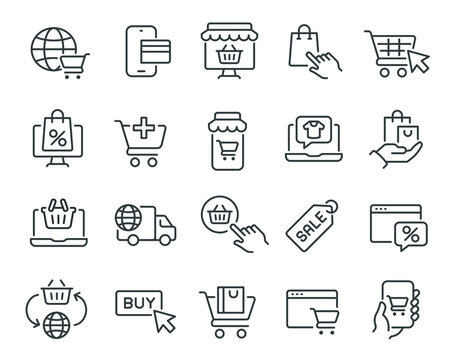 Online Shopping Icons Set. Such as Worldwide Shipping, Card Pay, Add To Cart, Online Store, Website or Mobile Applications, Shopping Items, Discounts and other. Editable vector stroke.