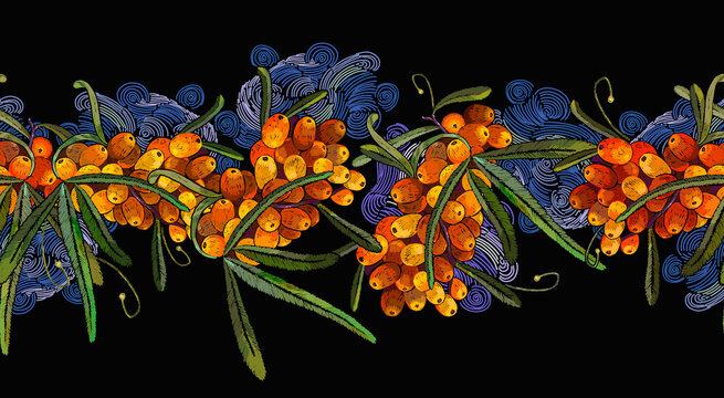 Sea buckthorn berries branch and night sky. Autumn garden art. Horizontal seamless pattern. Embroidery design. Fashion template for design of clothes, tapestry