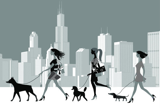 Women walk with dogs of different breeds against the backdrop of a modern city. Black and white vector illustration.