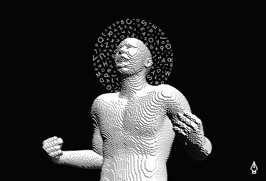 Portrait of a man shouting loud with halo of letters in chaotic order above his head. Angry muscled guy is yelling at something with closed fists. Voxel art. 3D vector illustration.