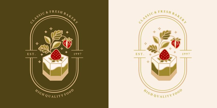Hand drawn vintage cake, pastry, bakery logo, label, food product elements with strawberry, leaf branch and frame