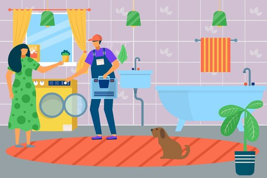 House renovation work by plumber worker with tool, vector illustration. Home repair service in bathroom, plumbing equipment and wrench.