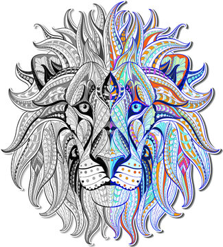 Patterned head of the lion. African , indian ,totem  tattoo design. It may be used for design of a t-shirt, coloring books bag, postcard, a poster and so on.