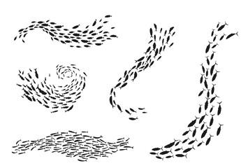Obraz School of fish silhouette underwater flow set - fototapety do salonu