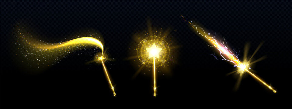 Gold magic wand with star and spell sparkles isolated on transparent background. Vector realistic set of magician rod, wizard stick with fairy golden light, shiny trace and lightnings