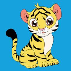 Słodkie, małe dziecko tygrys rysunkowe