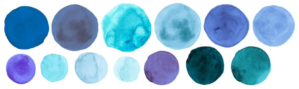 Teal Watercolor Circle. Isolated Hand Paint Stains on Paper. Blue Art Drops Background. Brush Stroke Watercolor Circle.