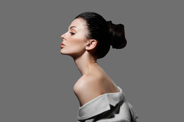 Perfect face profile woman, natural cosmetics for face care. Portrait of a fashion woman with a...