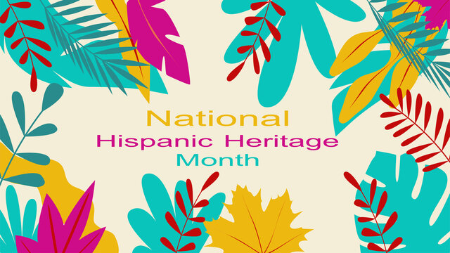 Vector editable graphics. Web banner, poster, cover, splash screen, social networks with place to place your text. Deciduous color print on a solid background. Hispanic Heritage Month.