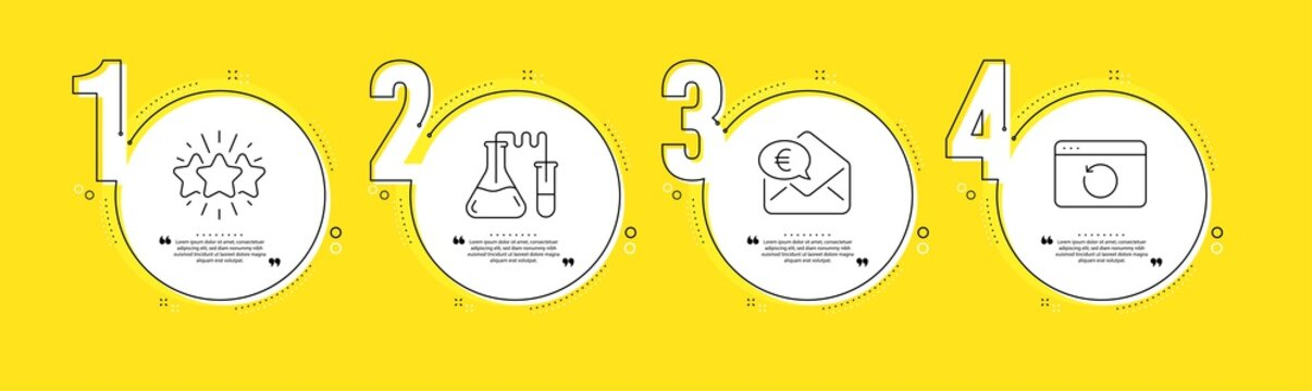 Euro money, Star and Chemistry lab line icons set. Timeline process infograph. Recovery internet sign. Receive cash, Customer feedback, Medical laboratory. Backup info. Business set. Vector