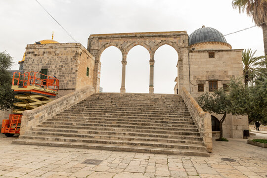 Canyors - stone arches on the stairs leading to the Dome of the Rock mosque on the Temple Mount in the Old Town of Jerusalem in Israel
