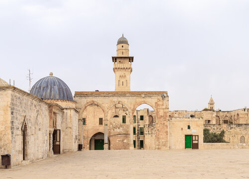 The Grammar  Dome - Office of Chief Judge, and Canyors, the Medresse and the Bab al-Silsila on the Temple Mount in the Old Town of Jerusalem in Israel