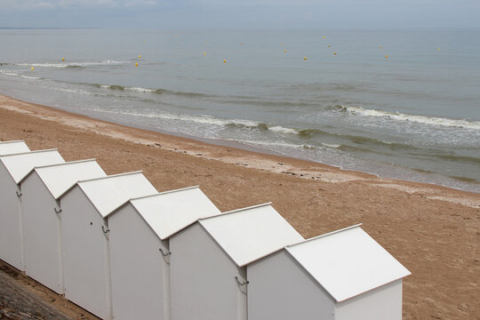 beach huts along the atlantic coast in cabourg in normandy (france)